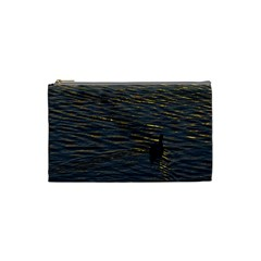 Lonely Duck Swimming At Lake At Sunset Time Cosmetic Bag (Small)