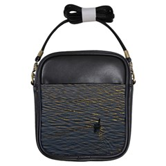 Lonely Duck Swimming At Lake At Sunset Time Girls Sling Bags