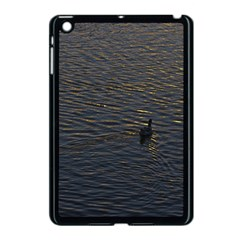 Lonely Duck Swimming At Lake At Sunset Time Apple iPad Mini Case (Black)