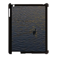 Lonely Duck Swimming At Lake At Sunset Time Apple iPad 3/4 Case (Black)