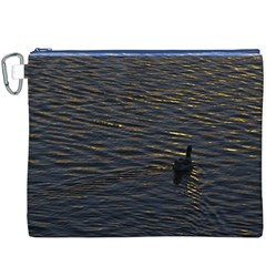 Lonely Duck Swimming At Lake At Sunset Time Canvas Cosmetic Bag (XXXL)