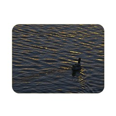 Lonely Duck Swimming At Lake At Sunset Time Double Sided Flano Blanket (Mini)