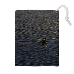 Lonely Duck Swimming At Lake At Sunset Time Drawstring Pouches (extra Large)