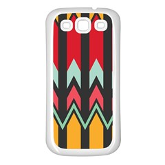 Waves and other shapes pattern			Samsung Galaxy S3 Back Case (White)