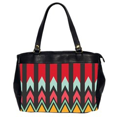 Waves and other shapes pattern Oversize Office Handbag (2 Sides)