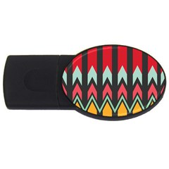 Waves and other shapes patternUSB Flash Drive Oval (4 GB)