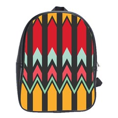 Waves and other shapes patternSchool Bag (Large)