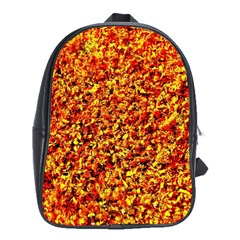 Orange Yellow  Saw Chips School Bags (XL)
