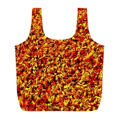 Orange Yellow  Saw Chips Full Print Recycle Bags (L)