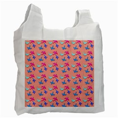 Birds Pattern on Pink Background Recycle Bag (One Side)