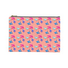 Birds Pattern on Pink Background Cosmetic Bag (Large)
