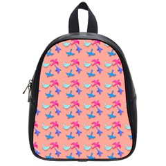 Birds Pattern on Pink Background School Bags (Small)