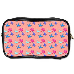 Birds Pattern on Pink Background Toiletries Bags 2-Side