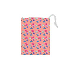 Birds Pattern on Pink Background Drawstring Pouches (XS)