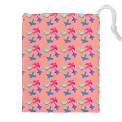Birds Pattern on Pink Background Drawstring Pouches (XXL)