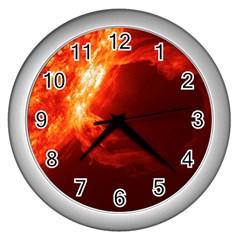 SOLAR FLARE 1 Wall Clocks (Silver)