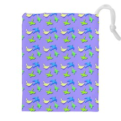 Blue And Green Birds Pattern Drawstring Pouches (xxl)
