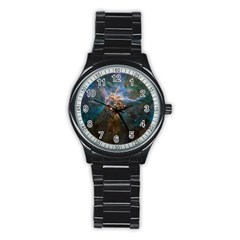 Mystic Mountain Stainless Steel Round Watches