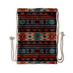 Southwest Design Turquoise and Terracotta Drawstring Bag (Small)