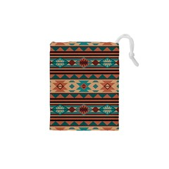 Southwest Design Turquoise and Terracotta Drawstring Pouches (XS)
