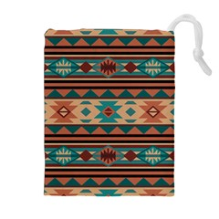 Southwest Design Turquoise and Terracotta Drawstring Pouches (Extra Large)