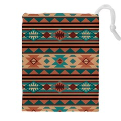 Southwest Design Turquoise and Terracotta Drawstring Pouches (XXL)