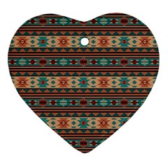 Southwest Design Turquoise and Terracotta Heart Ornament (2 Sides)