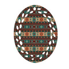 Southwest Design Turquoise And Terracotta Ornament (oval Filigree)
