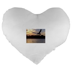 Intercoastal Seagulls 4 Large 19  Premium Flano Heart Shape Cushions