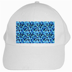 Turquoise Blue Abstract Flower Pattern White Cap