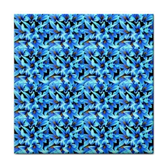 Turquoise Blue Abstract Flower Pattern Tile Coasters