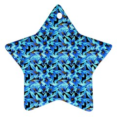 Turquoise Blue Abstract Flower Pattern Ornament (Star)