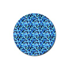 Turquoise Blue Abstract Flower Pattern Rubber Coaster (Round)