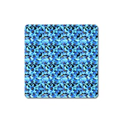 Turquoise Blue Abstract Flower Pattern Square Magnet