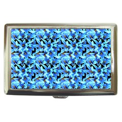 Turquoise Blue Abstract Flower Pattern Cigarette Money Cases