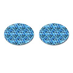 Turquoise Blue Abstract Flower Pattern Cufflinks (Oval)