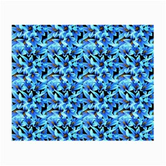 Turquoise Blue Abstract Flower Pattern Small Glasses Cloth (2-Side)