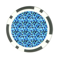 Turquoise Blue Abstract Flower Pattern Poker Chip Card Guards