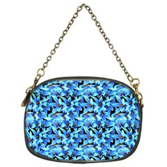 Turquoise Blue Abstract Flower Pattern Chain Purses (Two Sides)
