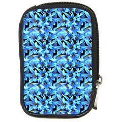Turquoise Blue Abstract Flower Pattern Compact Camera Cases