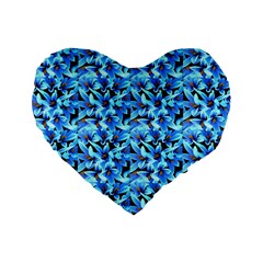 Turquoise Blue Abstract Flower Pattern Standard 16  Premium Heart Shape Cushions