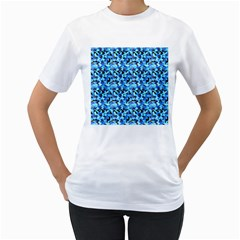 Turquoise Blue Abstract Flower Pattern Women s T-Shirt (White)