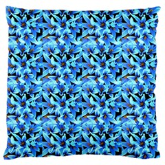 Turquoise Blue Abstract Flower Pattern Standard Flano Cushion Cases (One Side)