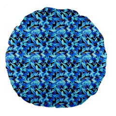 Turquoise Blue Abstract Flower Pattern Large 18  Premium Flano Round Cushions