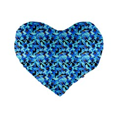 Turquoise Blue Abstract Flower Pattern Standard 16  Premium Flano Heart Shape Cushions