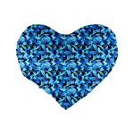 Turquoise Blue Abstract Flower Pattern Standard 16  Premium Flano Heart Shape Cushions Back
