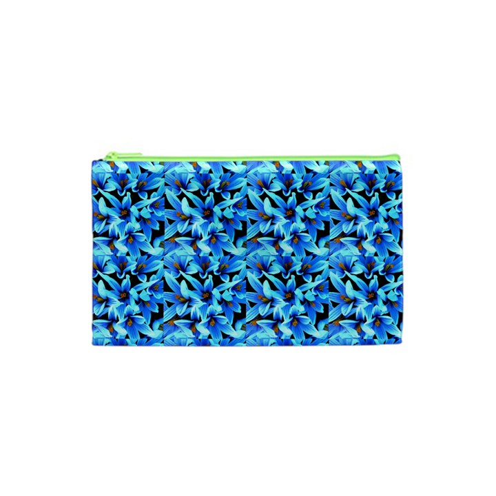 Turquoise Blue Abstract Flower Pattern Cosmetic Bag (XS)