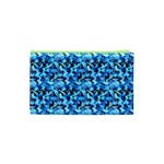 Turquoise Blue Abstract Flower Pattern Cosmetic Bag (XS) Back