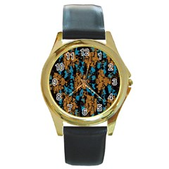 Blue brown texture			Round Gold Metal Watch