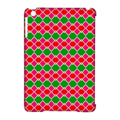 Red pink green rhombus pattern			Apple iPad Mini Hardshell Case (Compatible with Smart Cover)